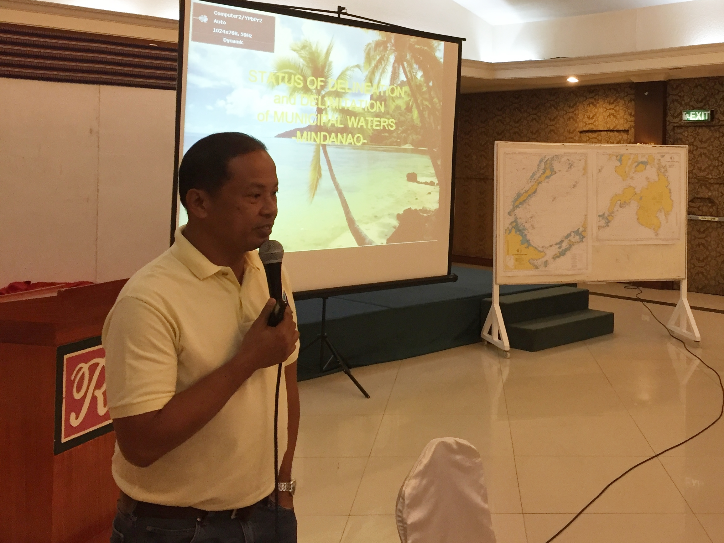 Engr. Mario Princer explaining the status of municipal water delimitation for Mindanao LGUs